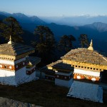 At 10,000-foot Dochula Pass are 108 Druk Wangyal Chortens, built in honor of his majesty, the 4th Druk Gyalpo. From this pass, you can also see the highest peaks of Bhutan in the background.