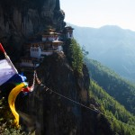 Prayer flags leading to Tiger's Nest Monastery.