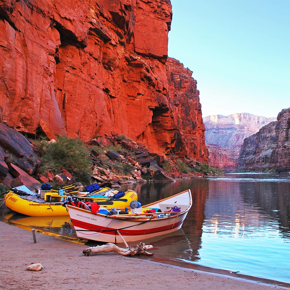 Rafts and dory in the Grand Canyon